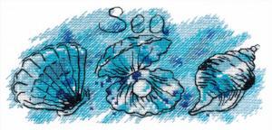 """Набор для вышивания на водорастворимой канве """"Жемчужина моря"""". Размер - 17 х 8 см."""