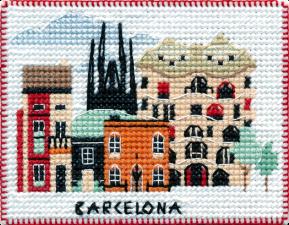 """Набор-магнит для вышивания на пластиковой канве """"Столицы мира.Барселона"""""""