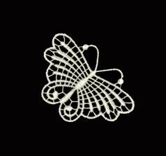 Кружевная бабочка,цв. кремовый,размер 7,5 х 6 см