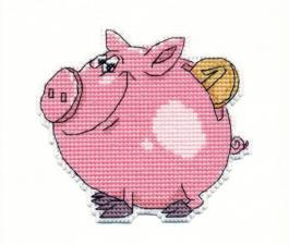 """Набор-магнит для вышивания на пластиковой канве """"Свинка-копилка"""""""