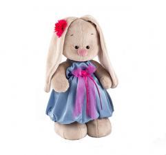 Зайка Ми в синем платье с розовым бантиком, мягкая игрушка BudiBasa