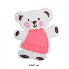 """Термоаппликация """"Мишка в розовом платье"""",8х8,5 см"""