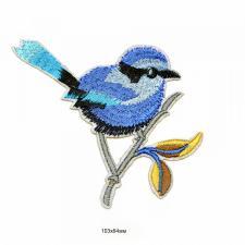 "Термоаппликация ""Птица"",10,3х8,4 см,цв.голубой"