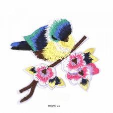"""Термоаппликация """"Птичка"""",10х9 см,цв.голубой/жёлтый/розовый"""