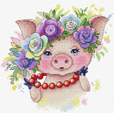 "Набор для вышивания крестиком ТМ ""Жар-Птица"" ""Розовая модница"". Размер - 17 х 17 см."