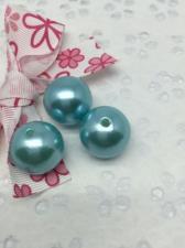 Бусины под жемчуг,20 мм,20 гр (5 бусин),цвет голубой (030)