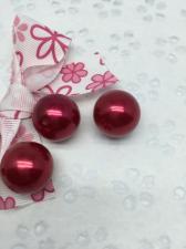 Бусины под жемчуг,20 мм,20 гр (5 бусин),цвет красный (031)