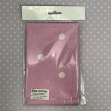 Поплин,розовый в белый горох,50х50 см