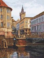 Палитра | Лавочный мост. Старый Кёнигсберг. Размер - 27 х 35 см.