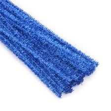 Проволока синель блестящая. Размер - 0,5 х 30 см. Цвет-синий