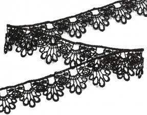 Кружево гипюр,30 мм,цв.чёрный