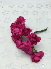 Букетик роз бумажный,цв.фуксия,12 шт