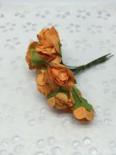 Букетик роз бумажный,цв.оранжевый,12 шт