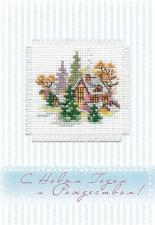 """Набор для изготовления открытки с вышивкой """"Зимний домик"""""""