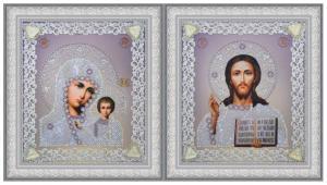 Картины бисером | Набор венчальных икон (серебро). Размер - 19 х 21,5 см (2 шт)