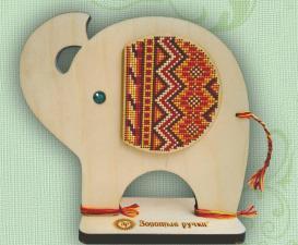 """Набор для вышивания по дереву """"Африканский слон"""". Размер - 16 х 17 см."""