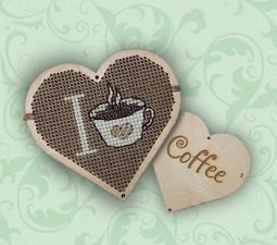 """Набор для вышивания по дереву """" Я люблю кофе"""". Размер - 7 х 7,5 см."""