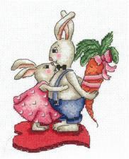 Сделай своими руками | Зайки.Любовь-морковь. Размер - 12 х 16 см