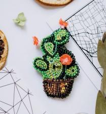 """Набор для вышивки бисером украшения на натуральном художественном холсте """"Кактус"""""""