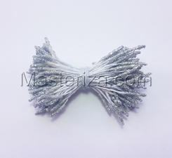 Тычинки сахарные,2 мм,100 шт,цв.серебро