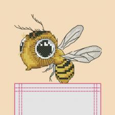 "Вышивка на одежде ""Пчёлка"". Размер - 7 х 8,5 см."
