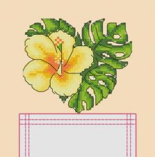 """Вышивка на одежде """"Тропический цветок"""". Размер - 8 х 9 см."""