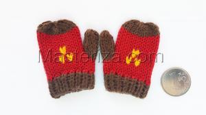 Варежки для игрушек, вязаные,5-6 см,цвет красный/коричневый