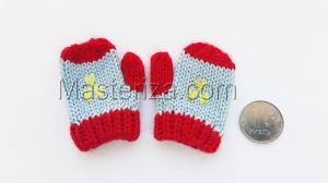 Варежки для игрушек, вязаные,5-6 см,цвет серый/красный