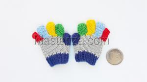 Перчатки для игрушек, вязаные,5-6 см,цвет серый/синий
