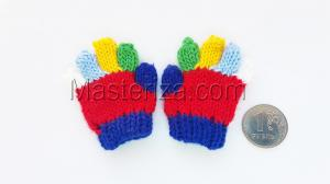 Перчатки для игрушек, вязаные,5-6 см,цвет красный/синий