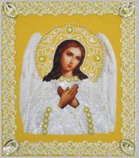 Картины бисером | Икона Ангела Хранителя (золото,ажур). Размер - 19 х 21,5 см.
