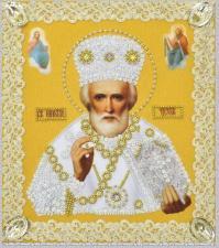 Картины бисером | Икона Святителя Николая Чудотворца (золото,ажур). Размер - 19 х 21,5 см.