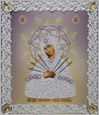 Картины бисером | Икона Божией Матери Семистрельная (серебро,ажур). Размер - 19 х 21,5 см.
