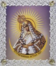Картины бисером | Остробрамская икона Божией Матери (ажур). Размер - 19 х 21,5 см.