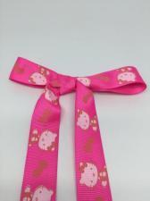 """Лента репсовая с рисунком """"Hello Kitty"""" (на малиновом фоне),25 мм"""