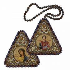 """Набор для вышивания бисером двухсторонней иконы """"Св. Вмч. и Целитель Пантелеймон и Ангел Златые власы"""""""