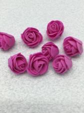 Роза из фоамирана,2 см,цвет фуксия (fuchsia),10 шт