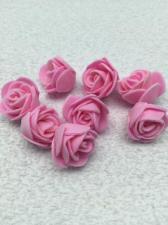 Роза из фоамирана,2 см,цвет розовый(pink),10 шт