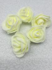 Роза из фоамирана,4 см,цвет молочный (ivory),10 шт