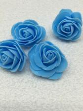 Роза из фоамирана,4 см,цвет голубой (blue),10 шт