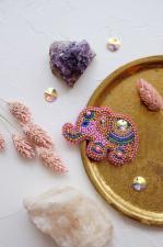 """Набор для вышивки бисером украшения на натуральном художественном холсте """"Розовый слонёнок"""""""