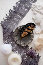 """Набор для вышивки бисером украшения на натуральном художественном холсте """"Перо"""""""