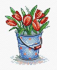 """Набор для вышивания крестиком ТМ """"Жар-Птица"""" """"Свежесть тюльпанов"""". Размер - 8 х 11 см."""