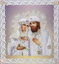 Картины бисером | Святые Пётр и Феврония (серебро,ажур). Размер - 21 х 23 см.