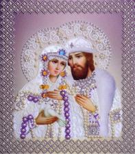 Картины бисером | Святые Пётр и Феврония (серебро,жемчуг). Размер - 19 х 22 см.