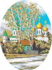 "Мозаичная картина ""У святых стен"". Размер - 36 х 45 см."