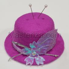 """Игольница """"Шляпка с цветком"""",цвет лиловый,размер - 10х10х4,5 см"""