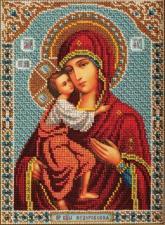 Радуга бисера (Кроше)   Богородица Фёдоровская. Размер - 19 х 27 см.