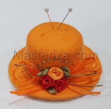 """Игольница """"Шляпка с розочками"""",цвет оранжевый,размер - 10,5х10,5х4,8 см"""