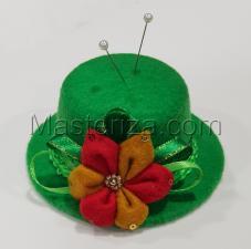 "Игольница ""Шляпка с цветком"",цвет зелёный,размер - 10х10х4,8 см"
